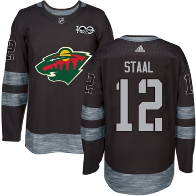 Men s Eric Staal Minnesota Wild Adidas 1917- 100th Anniversary Jersey -  Authentic Black 07a78054b